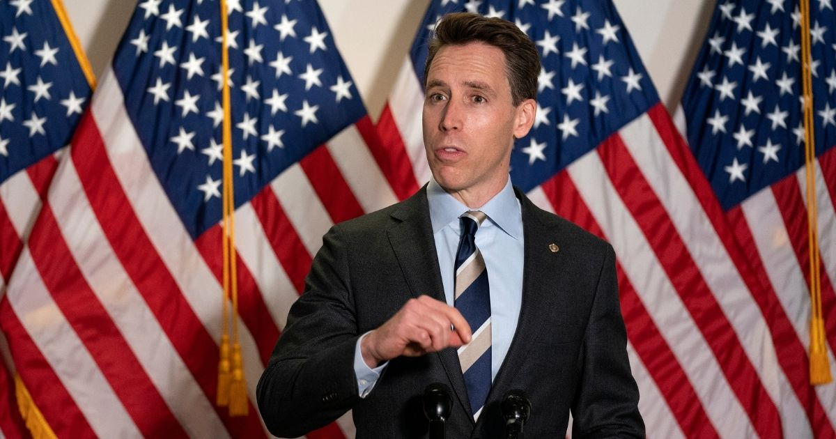 Sen. Josh Hawley speaks to reporters as he arrives to the weekly Senate Republican policy luncheon in the Hart Senate Office Building on Capitol Hill on Oct. 20, 2020, in Washington, D.C.