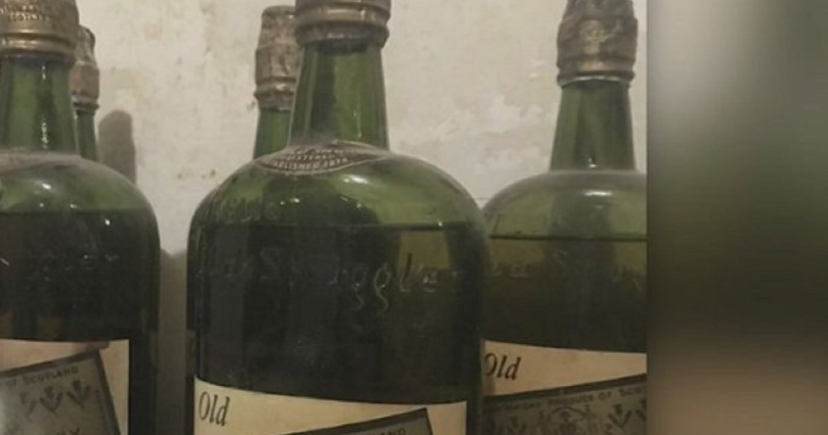 Bottles of whiskey found in a New York home from the Prohibition era.