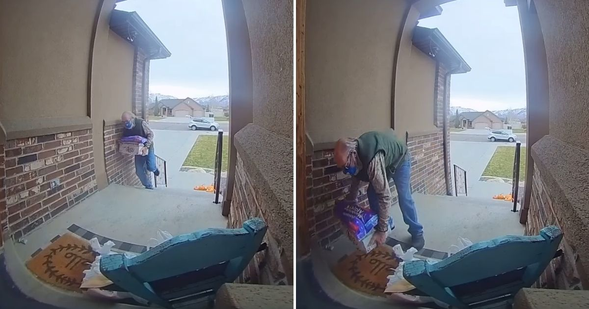 An elderly delivery man struggles with a heavy delivery. The customer launched a campaign to help him when she learned he'd picked up work to repair the roof on his home.