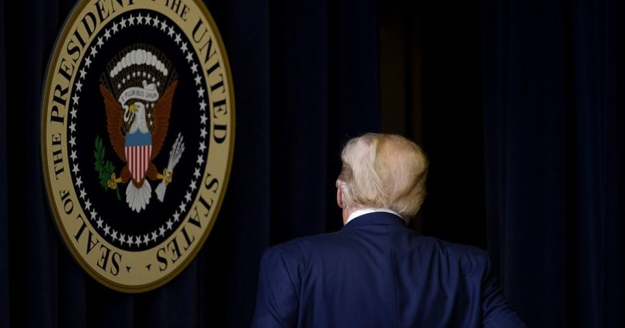 President Donald Trump walks out after speaking at the Operation Warp Speed Vaccine Summit on Dec. 8, 2020, in Washington, D.C.