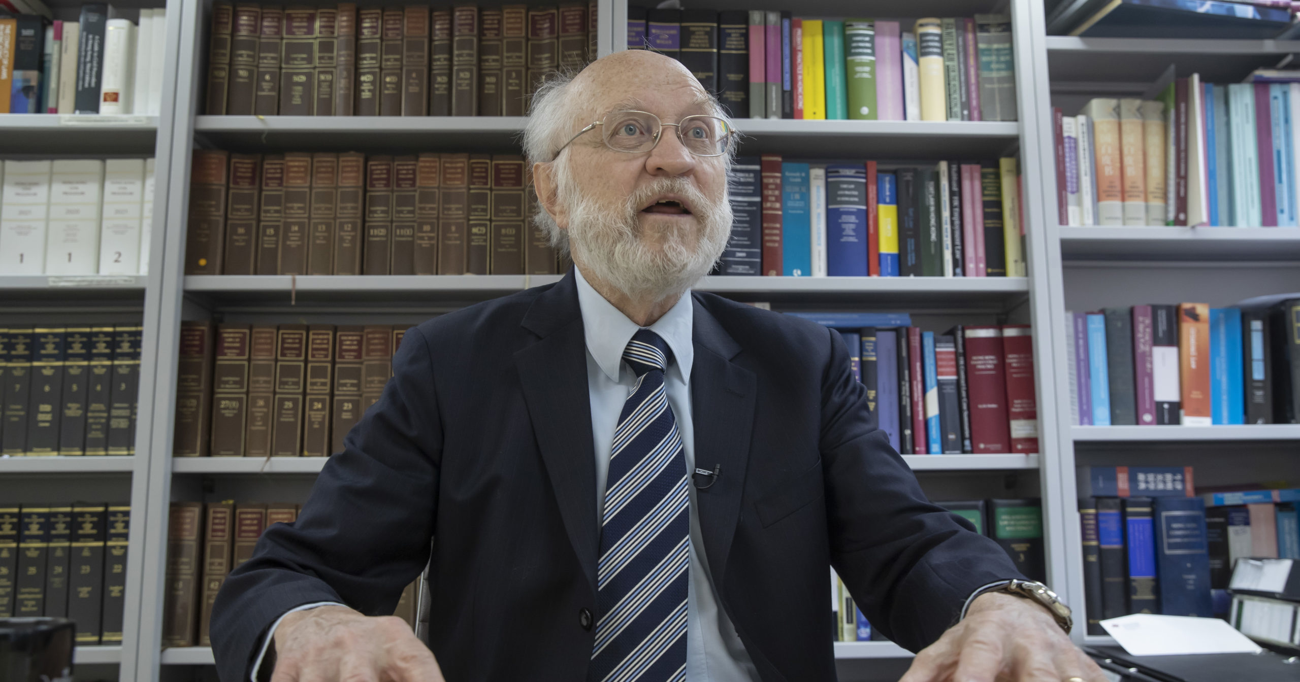John Clancey, an American lawyer who became the first foreigner arrested under Hong Kong's national security law, speaks during an interview in Hong Kong on Jan. 15, 2021.