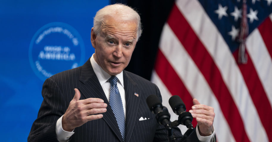President Joe Biden answers questions from reporters in the White House complex in Washington, D.C., on Jan. 25, 2021.
