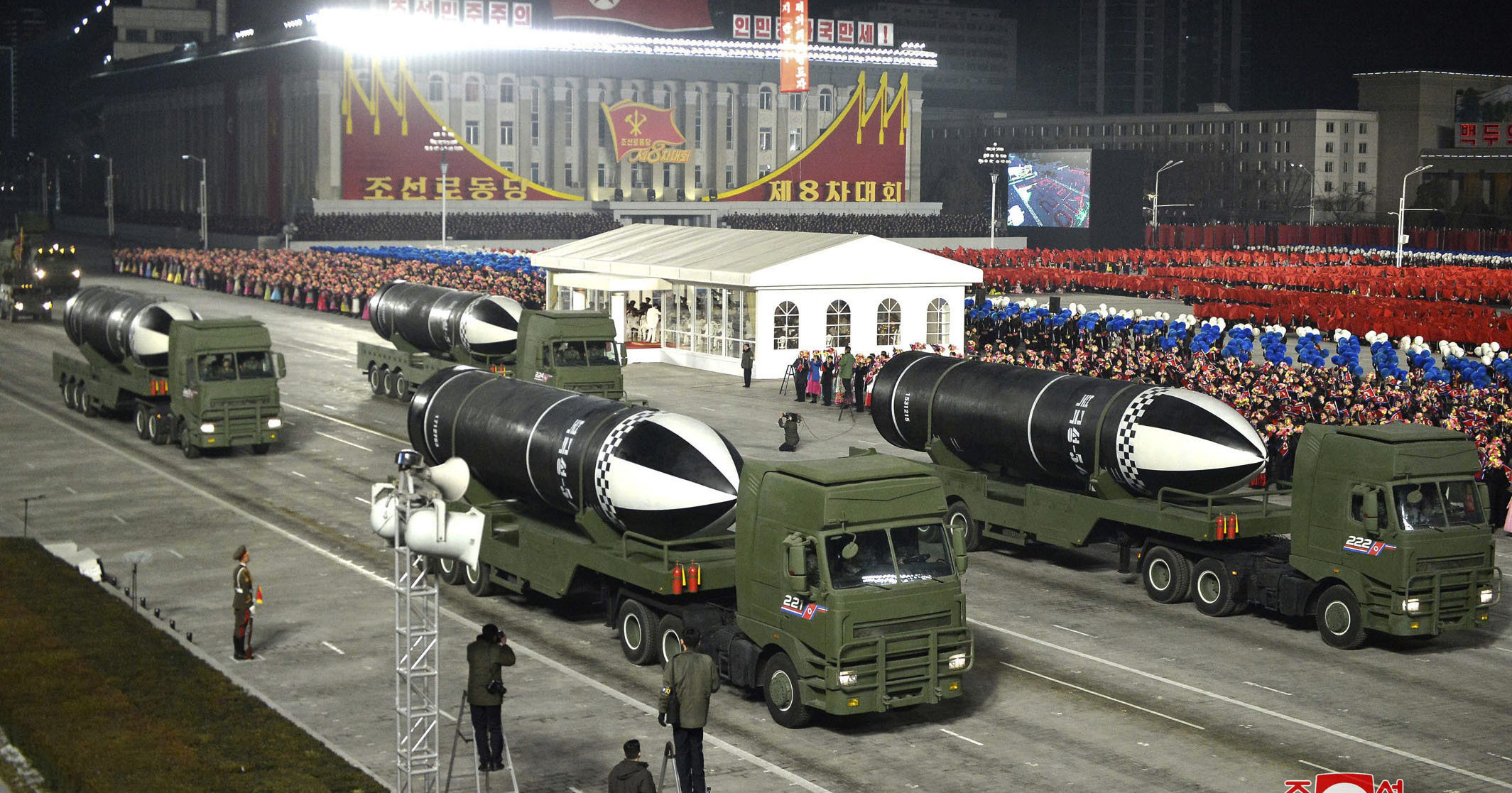This photo provided by the North Korean government shows missiles during a military parade at Kim Il Sung Square in Pyongyang, North Korea, on Jan. 14, 2021.
