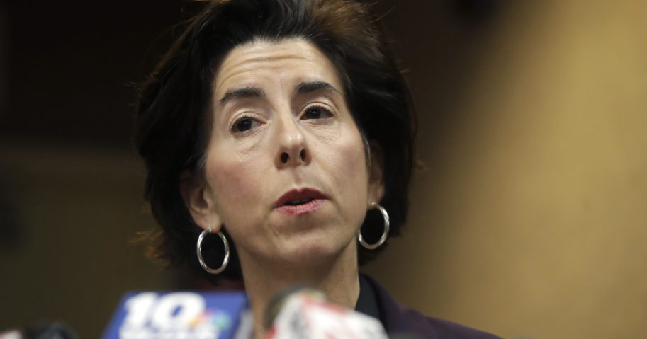 Rhode Island Gov. Gina Raimondo speaks during a news conference on March 1, 2020, in Providence, Rhode Island.