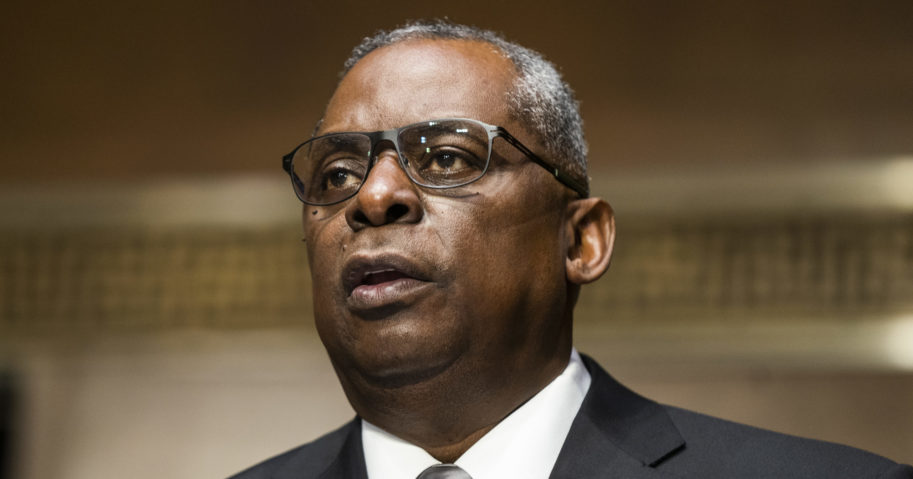 Secretary of Defense nominee Lloyd Austin, a recently retired Army general, speaks during his conformation hearing before the Senate Armed Services Committee on Capitol Hill on Jan. 19, 2021, in Washington, D.C.