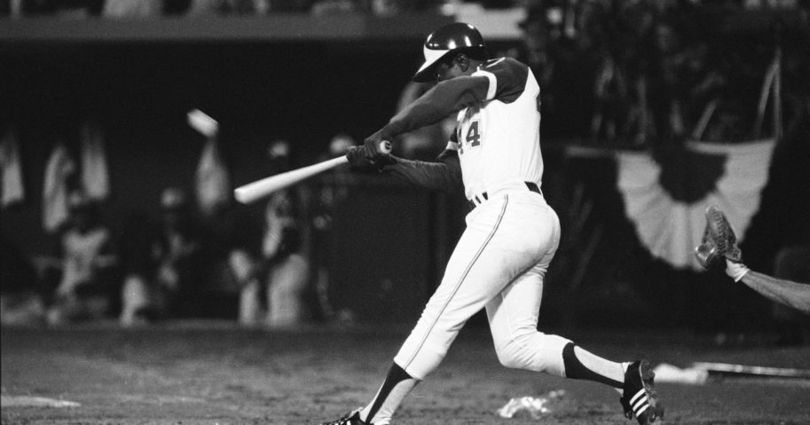 Hank Aaron hits his 715th career home run in Atlanta Stadium to break the all-time record on April 8, 1974.