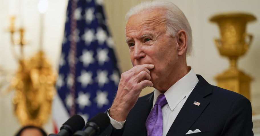 President Joe Biden speaks about the coronavirus in the State Dinning Room of the White House on Jan. 21, 2021, in Washington, D.C.