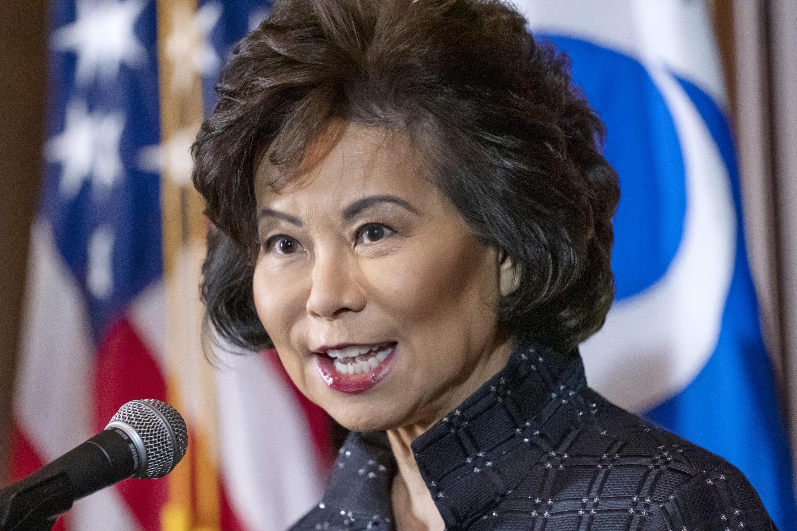 In this Sept. 18, 2019 file photo, Transportation Secretary Elaine Chao speaks at EPA headquarters in Washington.
