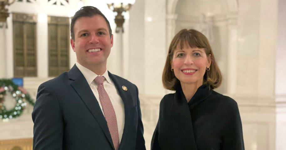 Republican Rep. Ryan Mackenzie, left, and his mother Milou Mackenzie pose at the Capitol on Jan. 5, 2021, in Harrisburg, Pennsylvania.