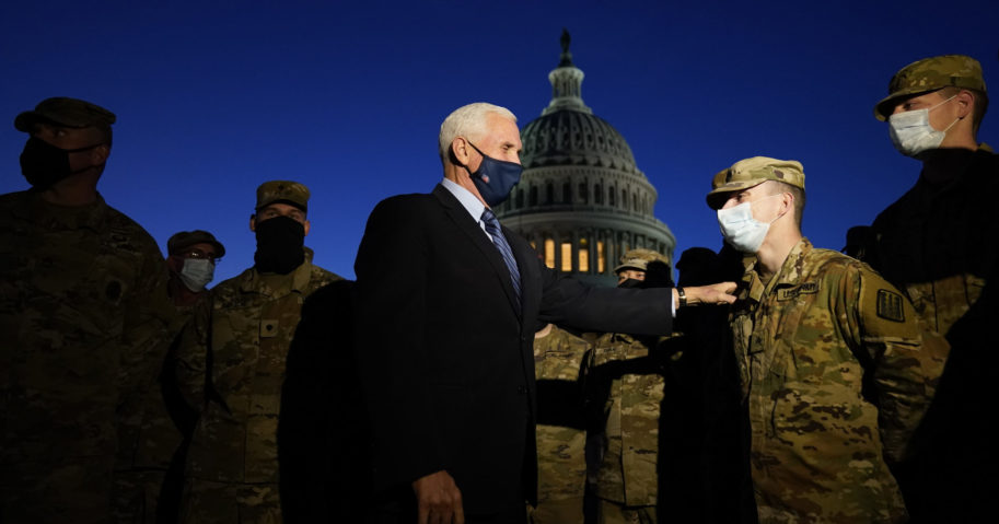 Vice President Mike Pence speaks to National Guard troops outside the U.S. Capitol on Jan. 14, 2021, in Washington, D.C.