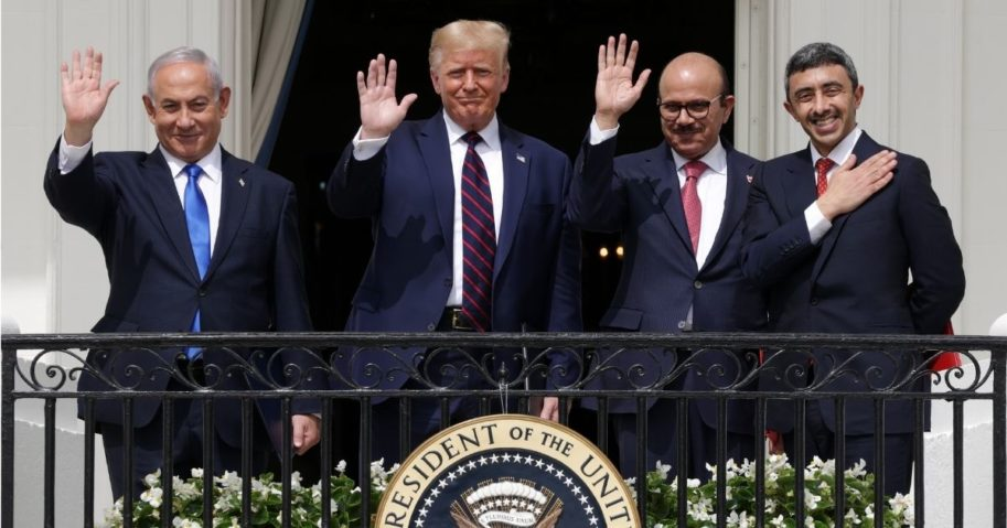 Israeli Prime Minister Benjamin Netanyahu, U.S. President Donald Trump, Bahrain Foreign Affairs Minister Abdullatif bin Rashid Al Zayani and United Arab Emirates Foreign Affairs Minister Abdullah bin Zayed bin Sultan Al Nahyan wave from the Truman Balcony of the White House after the signing ceremony of the Abraham Accords on the South Lawn of the White House on Sept. 15, 2020, in Washington, D.C.