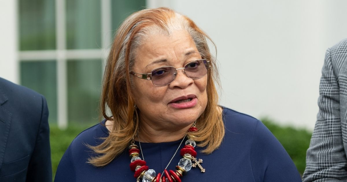 Alveda King, niece of the Rev. Martin Luther King Jr., speaks following a meeting with President Donald Trump and other faith-based, inner-city leaders at the White House in Washington on July 29, 2019.