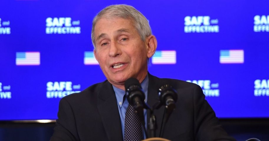 Director of the National Institute of Allergy and Infectious Diseases Dr. Anthony Fauci speaks after Vice President Mike Pence receives the COVID-19 vaccine in the Eisenhower Executive Office Building in Washington, D.C., on Dec. 18, 2020.