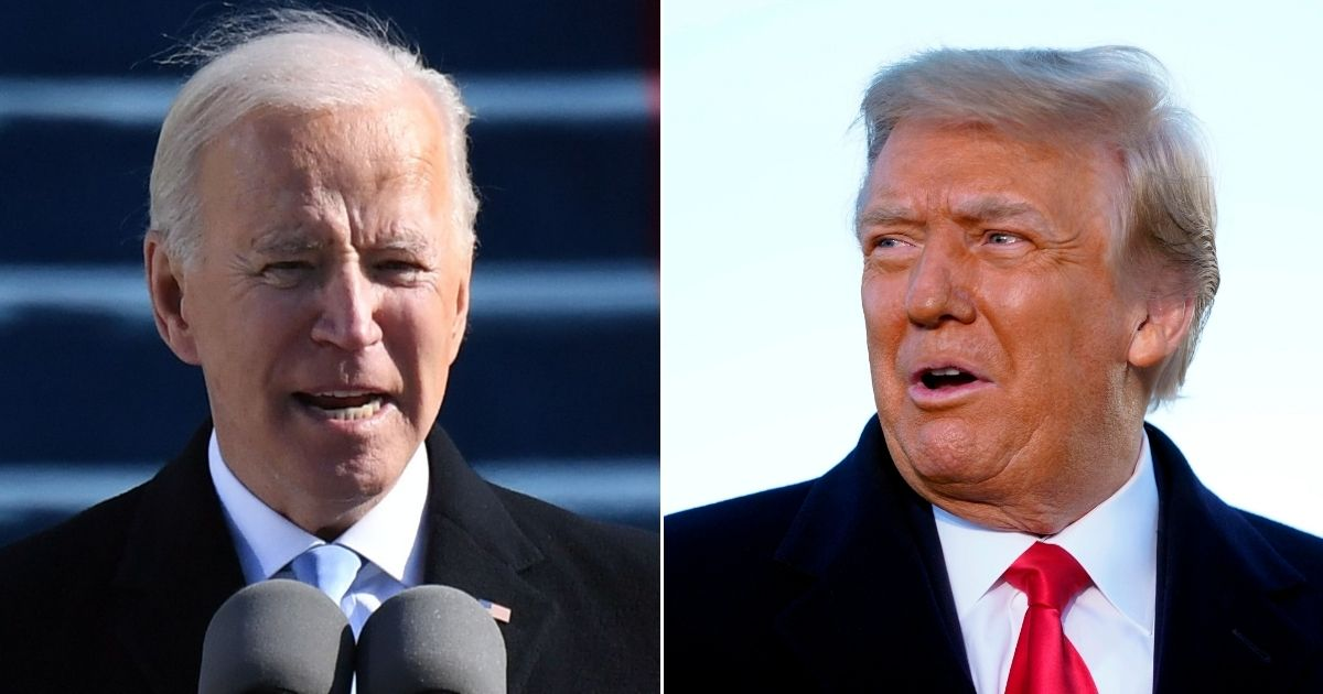 President Joe Biden, left, delivers his inaugural address at the Capitol in Washington on Wednesday. Former President Donald Trump, right, gives a farewell speech before boarding Air Force One at Joint Base Andrews in Maryland on Wednesday.