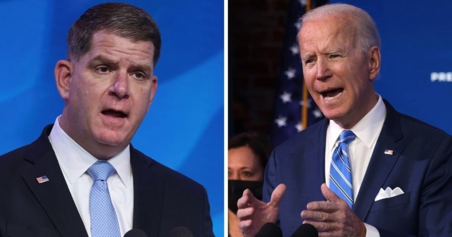Democratic Boston Mayor Marty Walsh, left, President-elect Joe Biden's, right, labor secretary pick, has spent almost $1.2 million on a boutique fundraising consulting firm that employs his longtime girlfriend.