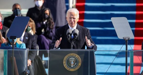 President Joe Biden delivers his inaugural address in front of the Capitol in Washington on Wednesday.