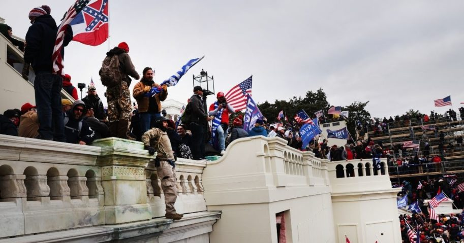 """Thousands of Donald Trump supporters storm the United States Capitol building following a """"Stop the Steal"""" rally in Washington, D.C., on Wednesday."""