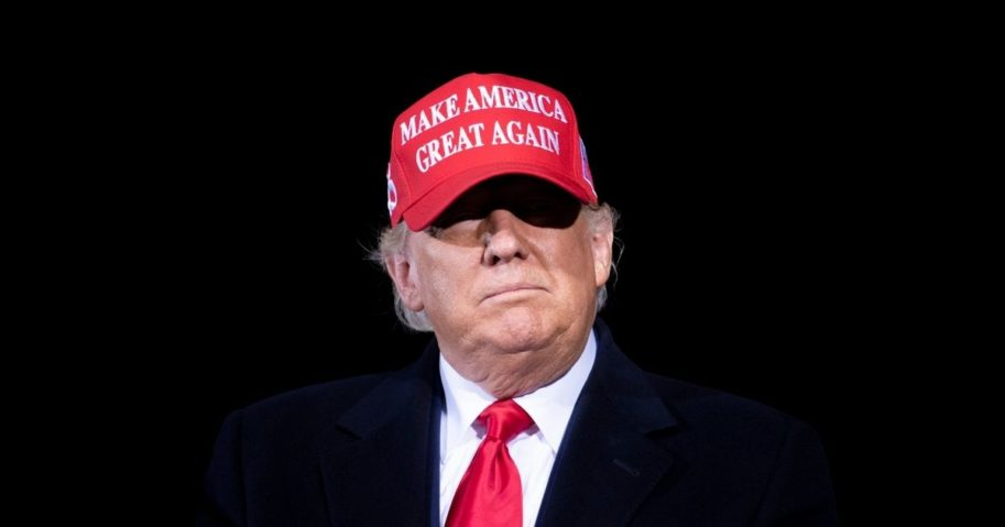 President Donald Trump arrives for a Make America Great Again rally at Hickory Regional Airport in Hickory, North Carolina, on Nov. 1, 2020.