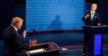 President Donald Trump, left, and former Vice President Joe Biden speak during the first presidential debate at the Health Education Campus of Case Western Reserve University on Sept. 29, 2020 in Cleveland, Ohio.