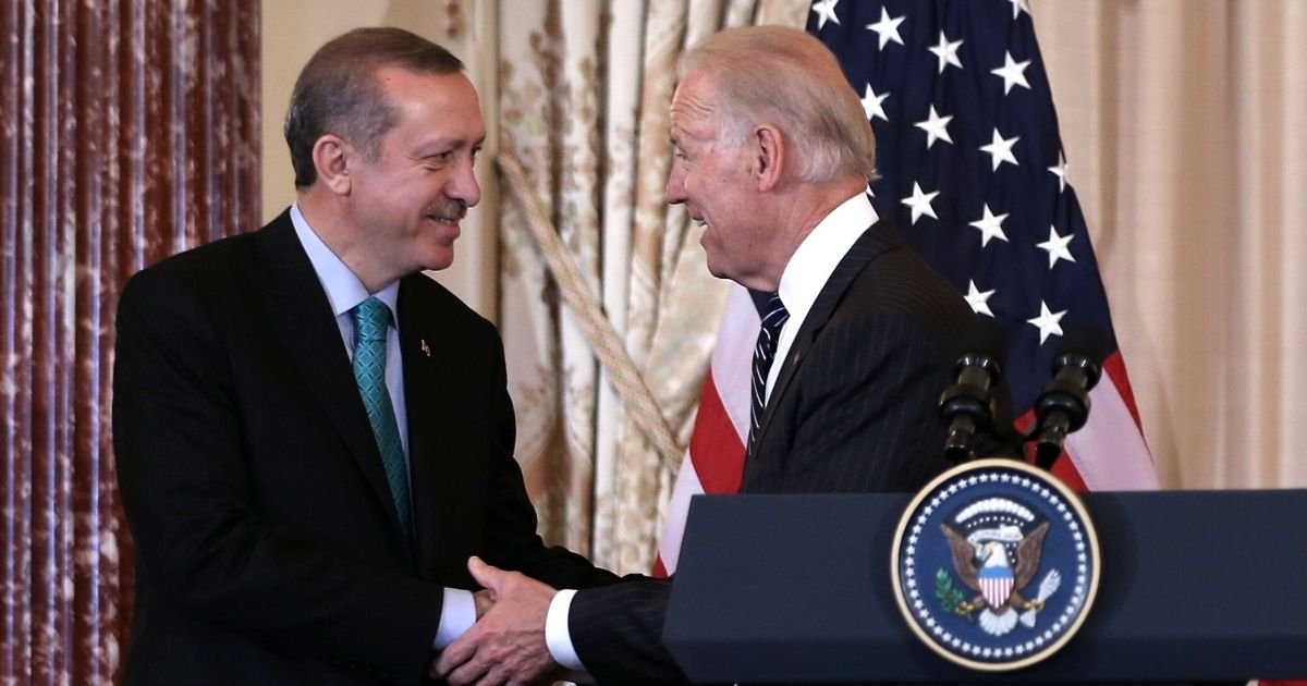 President-elect Biden, then Vice President, shakes hands with Prime Minister of Turkey Recep Tayyip Erdogan, left, during a luncheon at the State Department May 16, 2013, in Washington, D.C.