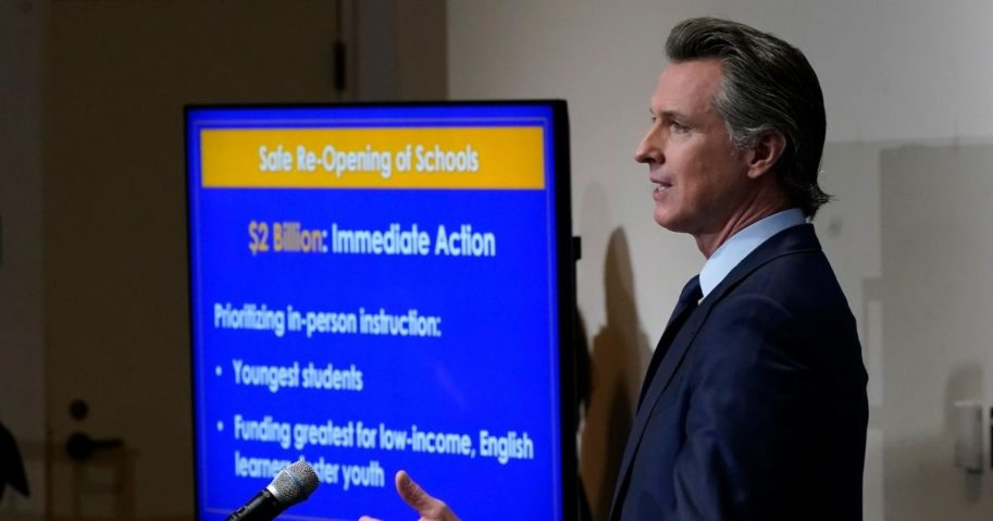 In this Jan. 8, 2021, file photo, California Gov. Gavin Newsom outlines the safe re-opening of schools while speaking about his 2021-2022 state budget proposal during a news conference in Sacramento, Calif.