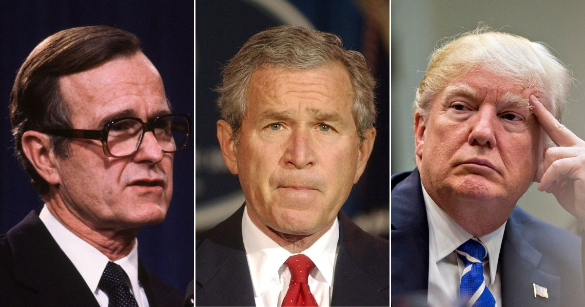 Former Presidents George H.W. Bush, left, and George Bush, center, and President Donald Trump are pictured above.