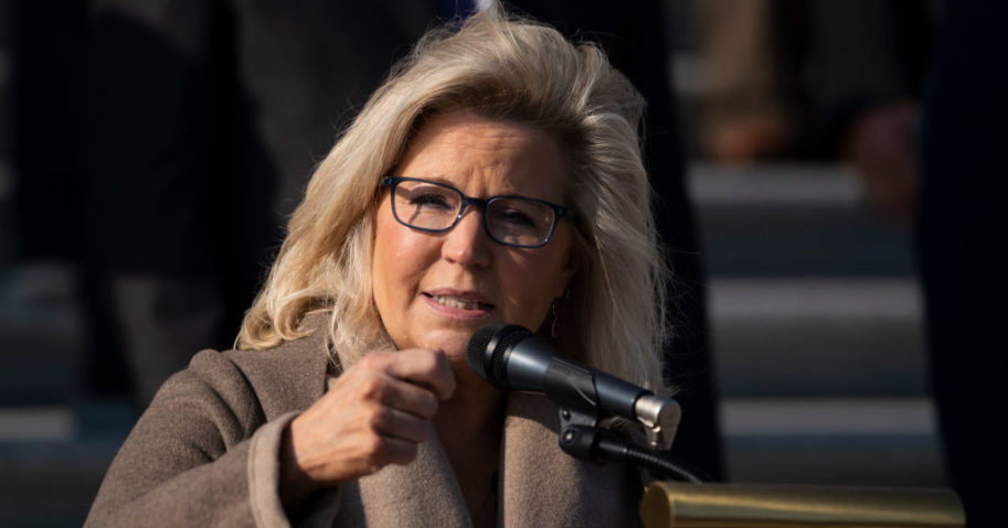 Rep. Liz Cheney speaks during a news conference with fellow House Republicans outside the U.S. Capitol December 10, 2020 in Washington, DC.