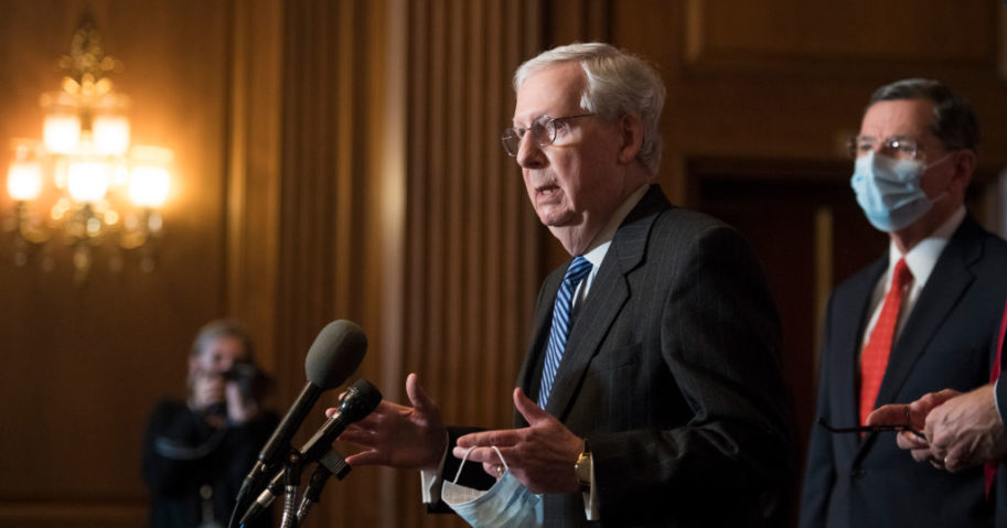 Senate Majority Leader Mitch McConnell speaks during a news conference following the weekly meeting with the Senate Republican caucus at the U.S. Capitol on December 15, 2020 in Washington, DC.