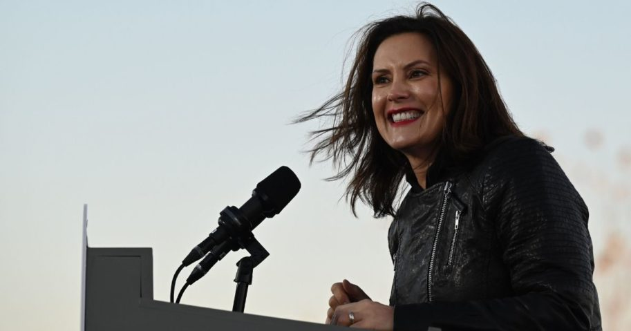 Michigan Gov. Gretchen Whitmer speaks during a mobilization event at Belle Isle Casino in Detroit, Michigan, on Oct. 31, 2020.