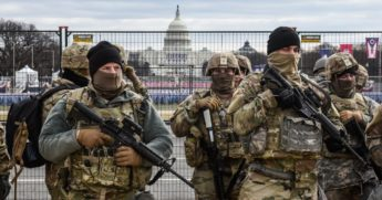 Members of the National Guard patrol the National Mall in Washington on Tuesday.