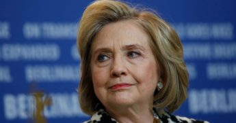 """Former Secretary of State Hillary Clinton addresses a news conference for the film """"Hillary"""" screened in the Berlinale Special category at the 70th Berlinale film festival on Feb. 25, 2020, in Berlin."""