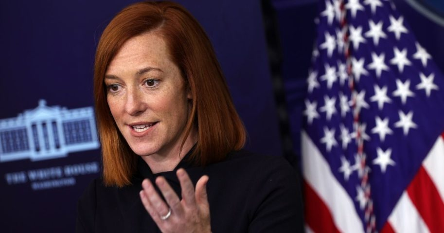 White House press secretary Jen Psaki participates in a White House media briefing at the James Brady Press Briefing Room of the White House on Friday in Washington, D.C.