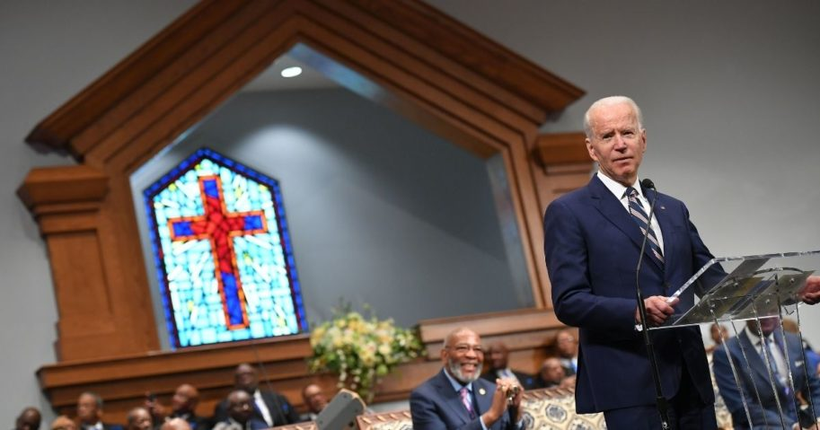 Joe Biden speaks as he attends Sunday service at the New Hope Baptist Church in Jackson, Mississippi, on March 8, 2020.