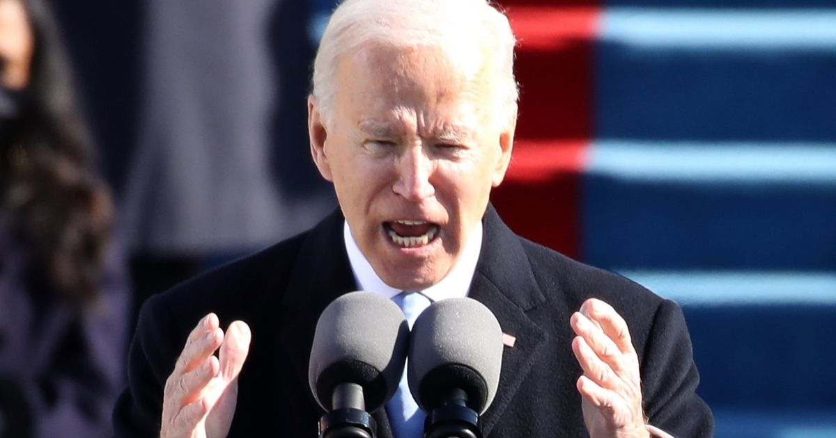 President Joe Biden delivers his inaugural address on the West Front of the U.S. Capitol on Wednesday in Washington, D.C.