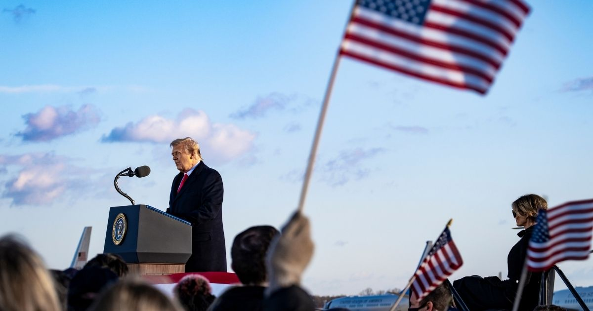President Donald Trump speaks to supporters at Joint Base Andrews before boarding Air Force One for his last time as President on Jan. 20, 2021, in Joint Base Andrews, Maryland.