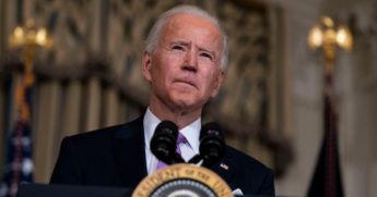 President Joe Biden speaks about his racial equity agenda in the State Dining Room of the White House in Washington, D.C., on Tuesday.
