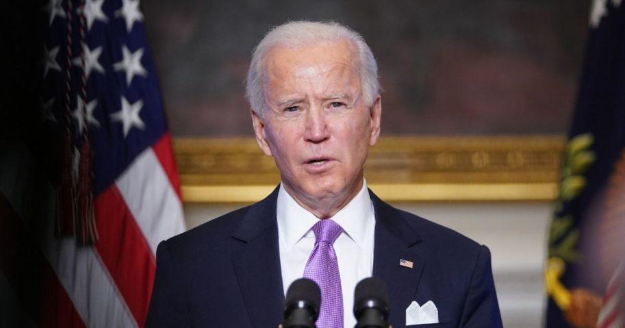 President Joe Biden speaks on his administration's COVID-19 response in the State Dining Room of the White House in Washington, D.C., on Tuesday.