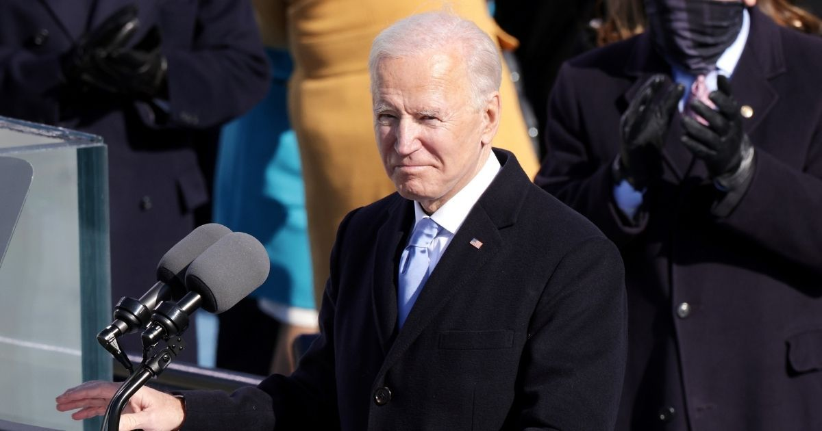 President Joe Biden pauses during his inaugural address at the Capitol in Washington on Wednesday.