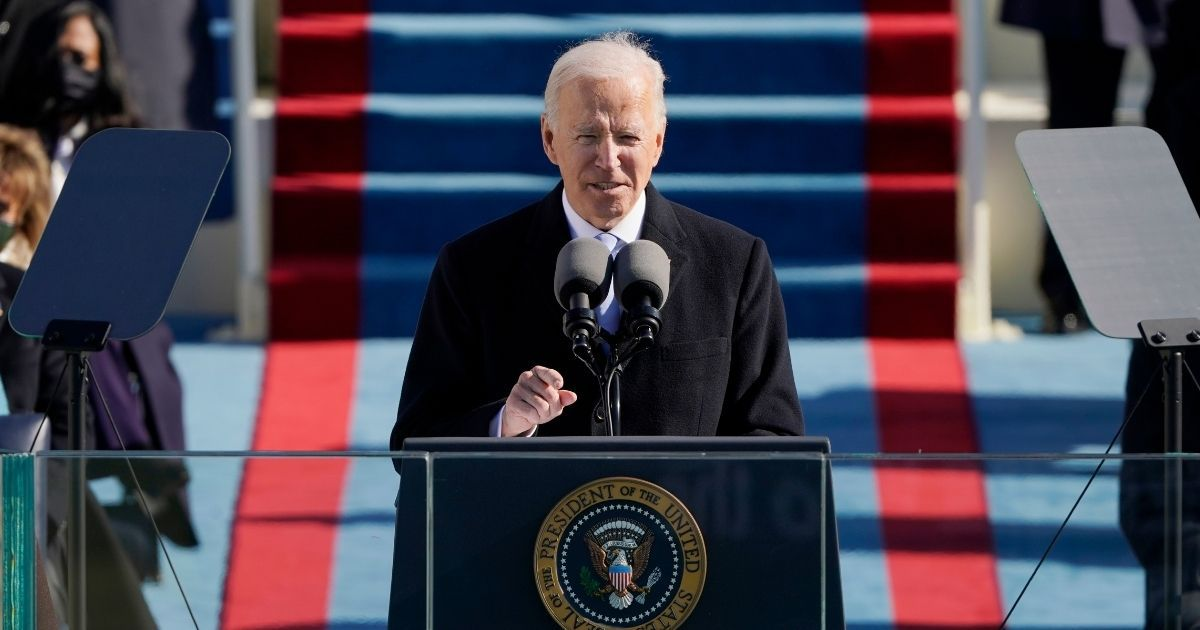 President Joe Biden gives his inauguration speech on the West Front of the U.S. Capitol on Wednesday in Washington, D.C.