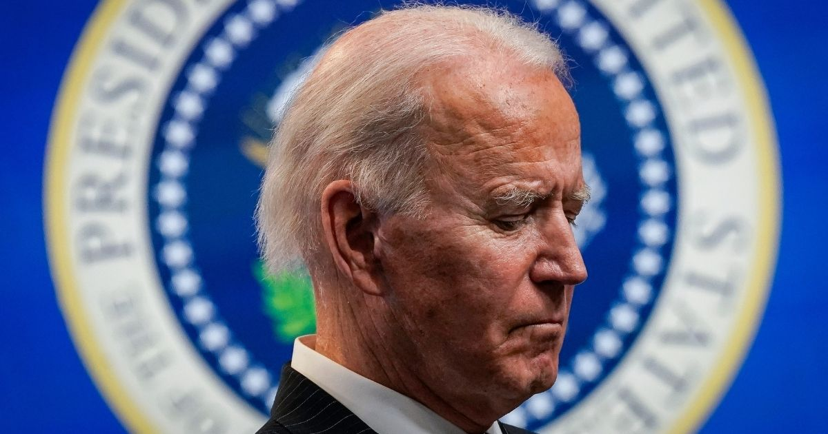 President Joe Biden pauses while speaking in the South Court Auditorium of the White House complex on Monday in Washington, D.C.