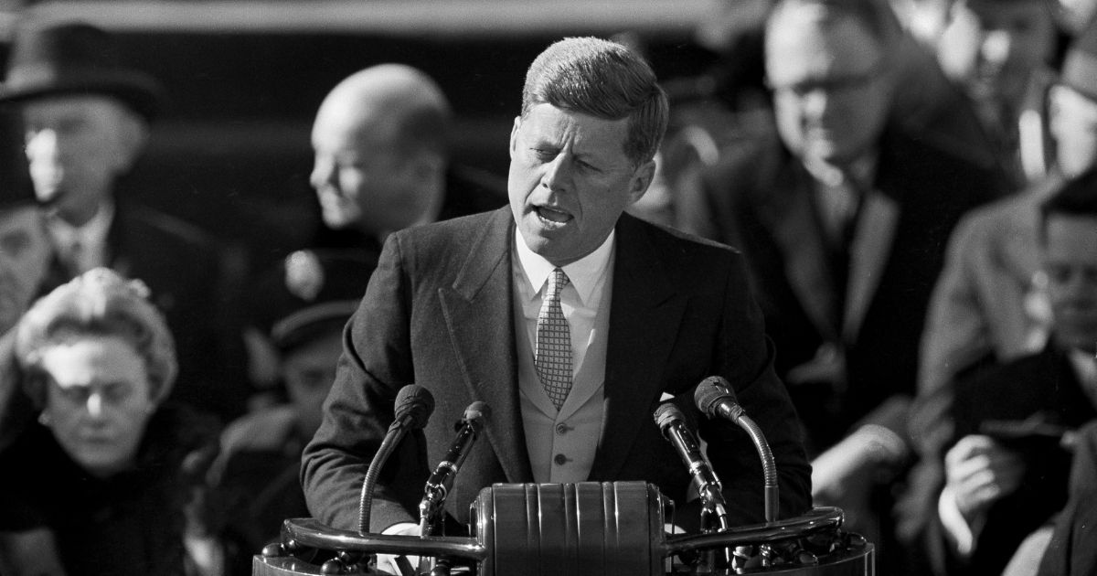 After taking oath of office, President John F. Kennedy delivers his inaugural address at Capitol Hill in Washington, D.C., on Jan. 20, 1961.
