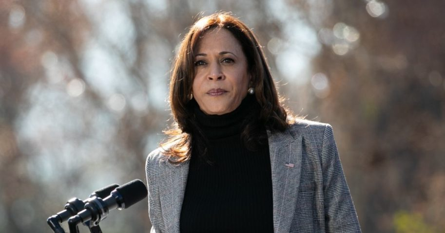 Vice President-elect Kamala Harris campaigns in support of Georgia Democratic Senate candidates Jon Ossoff and the Rev. Raphael Warnock during a drive-in rally at Bibb Mill Event Center on Dec. 21, 2020, in Columbus, Georgia.