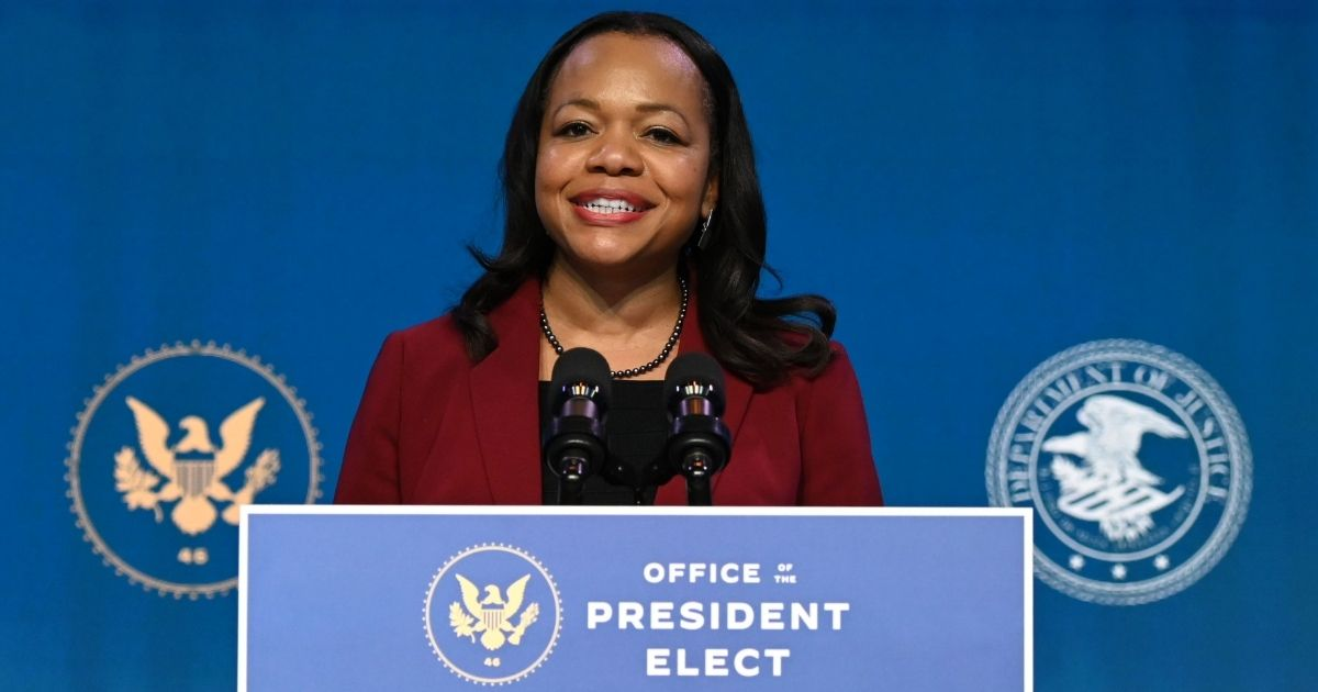 Kristen Clarke speaks after being announced as President-elect Joe Biden's choice for assistant attorney general in the Justice Department's Civil Rights Division on Sunday at the Queen Theater in Wilmington, Delaware.