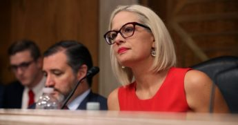 Democratic Sen. Kyrsten Sinema of Arizona questions witnesses during a hearing in the Dirksen Senate Office Building on Capitol Hill in Washington on May 14, 2019.
