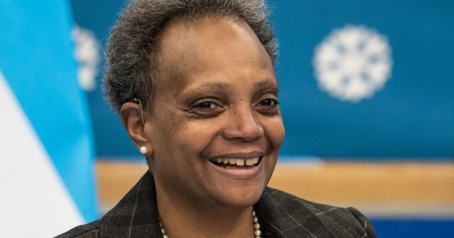 Mayor Lori Lightfoot speaks to reporters on Monday after visiting preschool classrooms at Dawes Elementary School in Chicago.