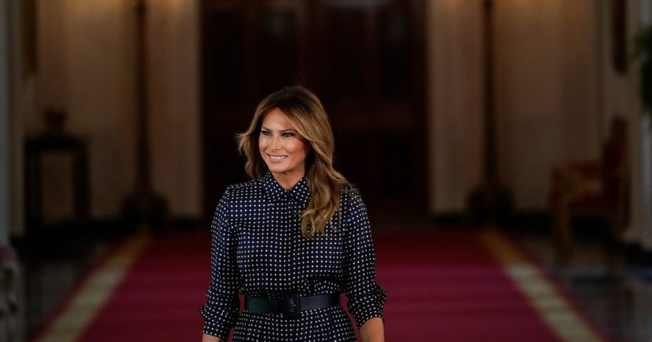 First Lady Melania Trump arrives for an event to mark National Alcohol and Drug Addiction Recovery Month in the East Room of the White House on September 3, 2020, in Washington D.C.