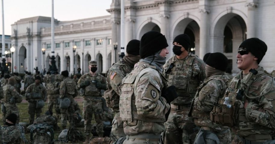 Members of the National Guard wait to depart Union Station as the city remains under tight security during the presidential inauguration in Washington, D.C., on Wednesday.