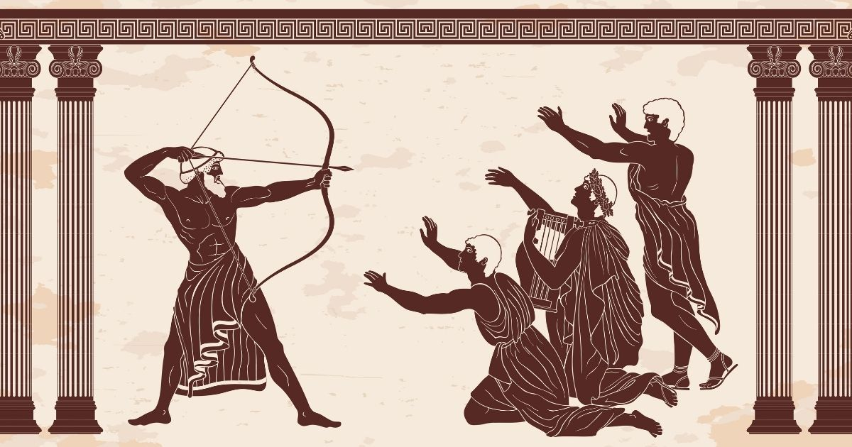 "In this illustration of the events of Homer's ""Odyssey,"" Odysseus kills the suitors of his wife, Penelope."