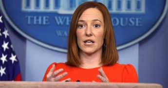 White House press secretary Jen Psaki speaks during a news conference at the James Brady Press Briefing Room of the White House on Thursday.