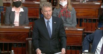 In this image from video, Kentucky Republican Sen. Rand Paul makes a motion that the impeachment trial against former President Donald Trump is unconstitutional in the Senate at the U.S. Capitol in Washington on Tuesday.